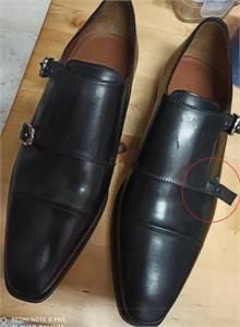 Corneliani Size 10- Black Leather Monk Shoe (Double Buckle) - Unused Slightly Damaged