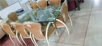 8 Chairs Glass Dining Table