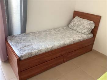 Single wooden beds with storage
