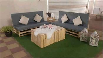 Wooden Pellet Sofa Outdoor With Coffee Table(2+2)