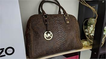 Authentic Michael Kors Gold Hardware Brown Phyton Embossed Leather