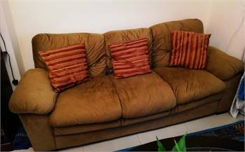 3 seater single suede sofa
