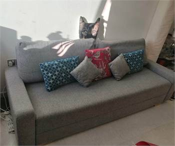 Grey bed side sofa