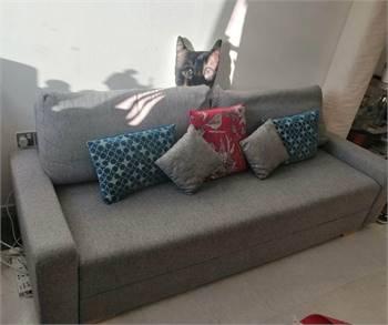 Grey bed side sofa